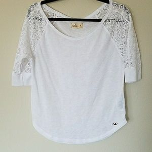 Fun Hollister Top with Lace Shoulders/Arms